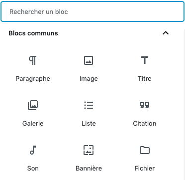 Capture d'écran blocs communs