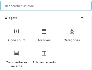 Capture d'écran widgets